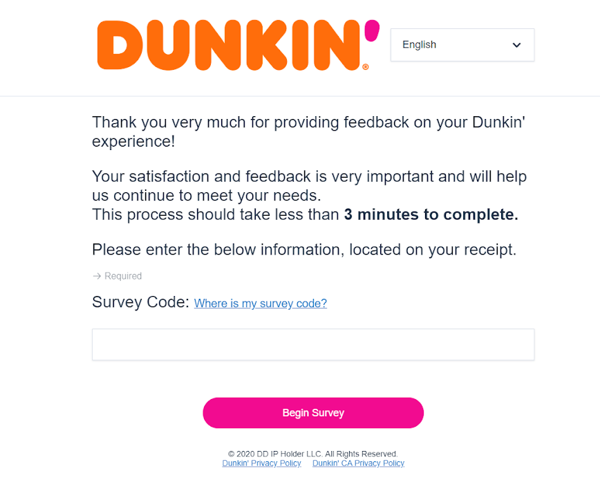 Tell Dunkin Survey