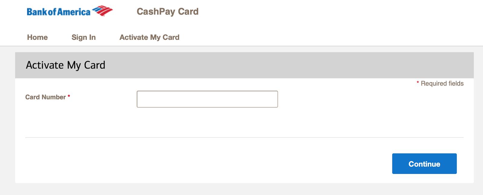 Activate CashPay card