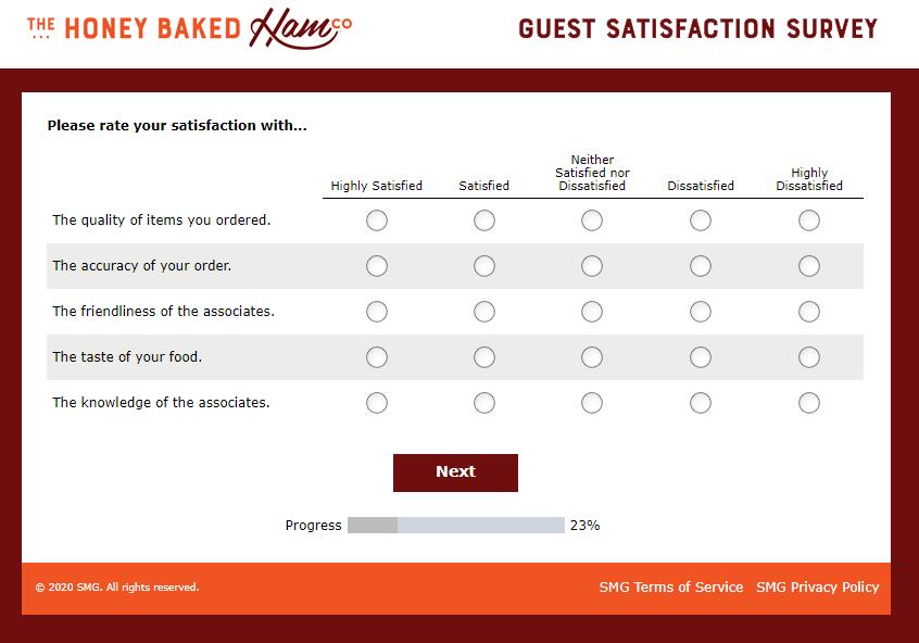 My Honey Baked Survey