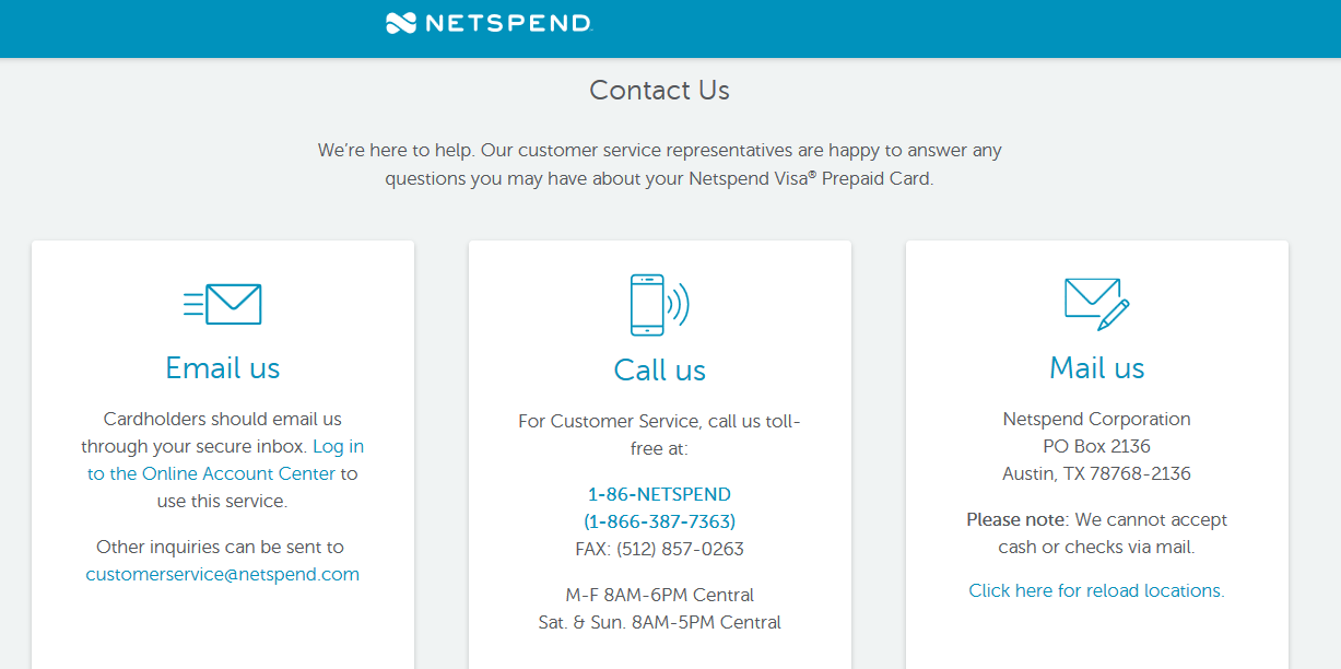 Netspend Contact Information
