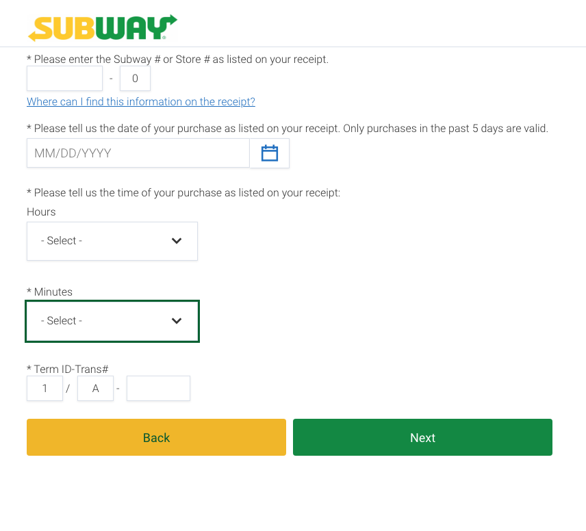 www.TellSubway.com survey help