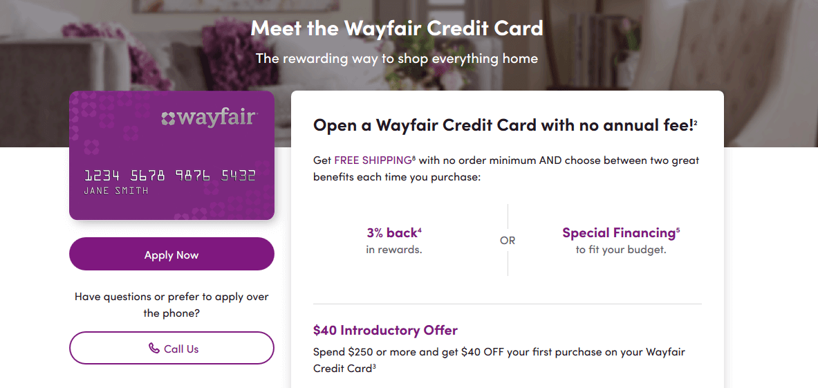 Wayfair card application