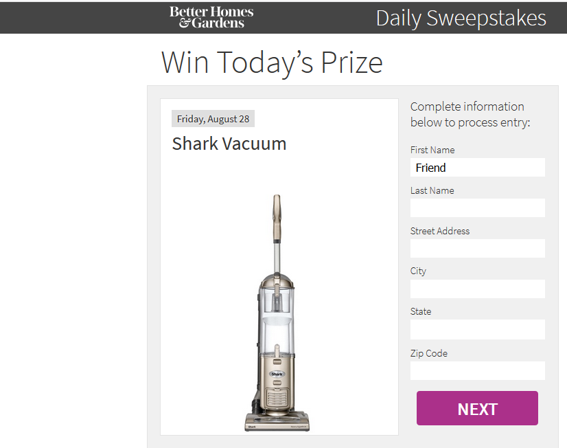 BHG daily sweepstakes