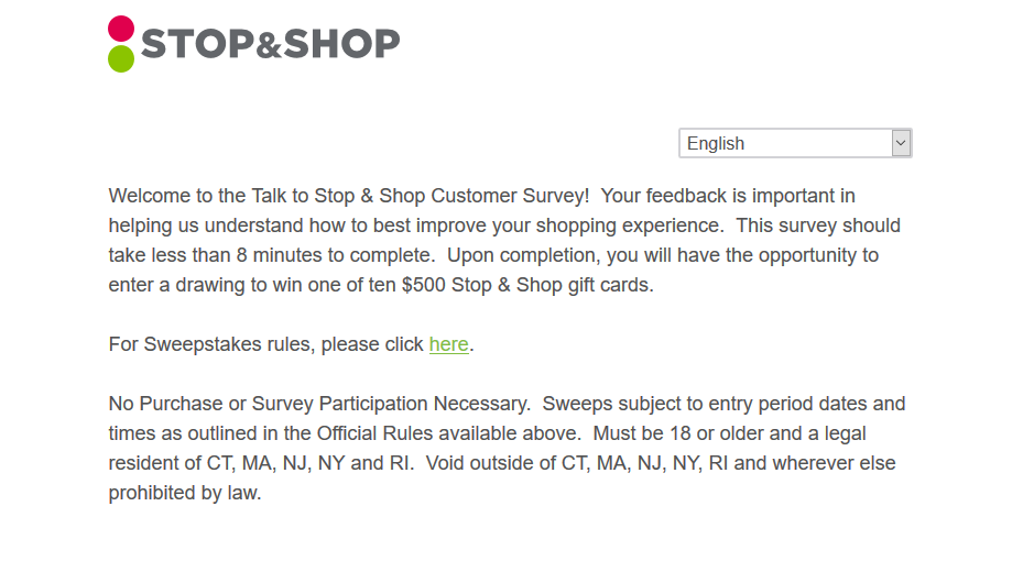 TalkToStopAndShop.com Survey