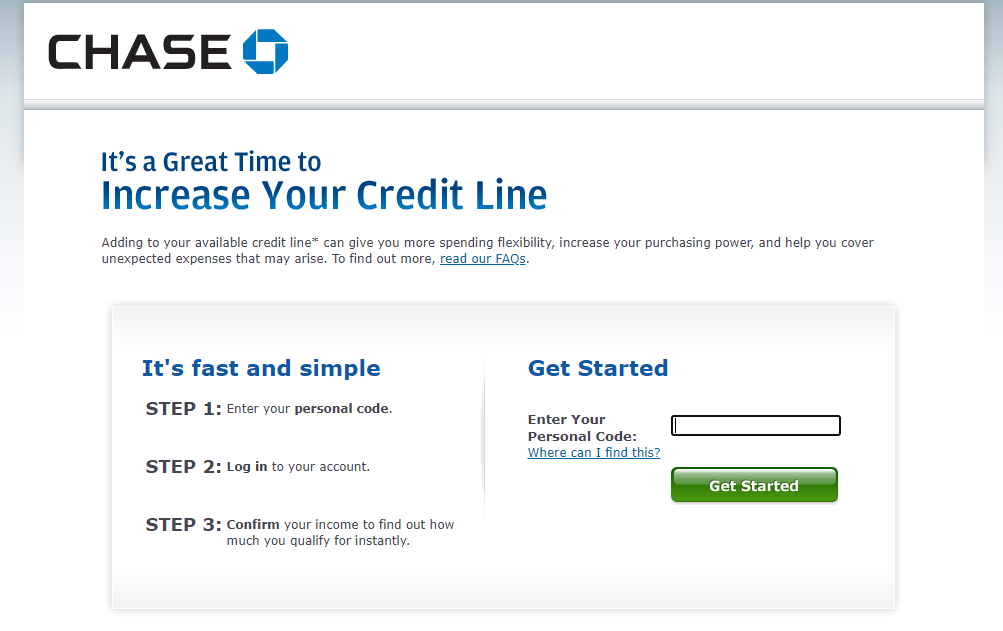 Chase.com Increase My Line