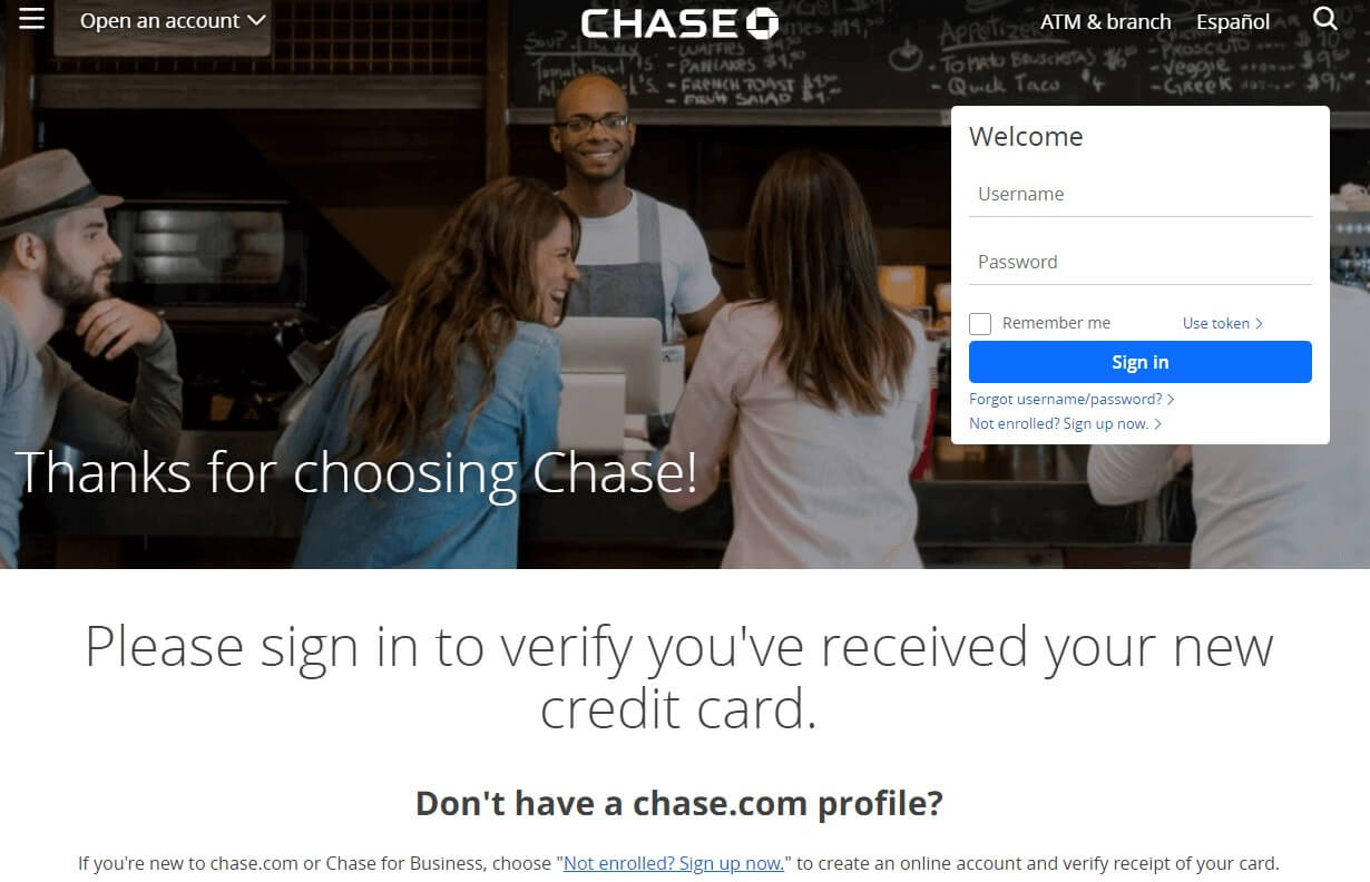 Chase Verify Card