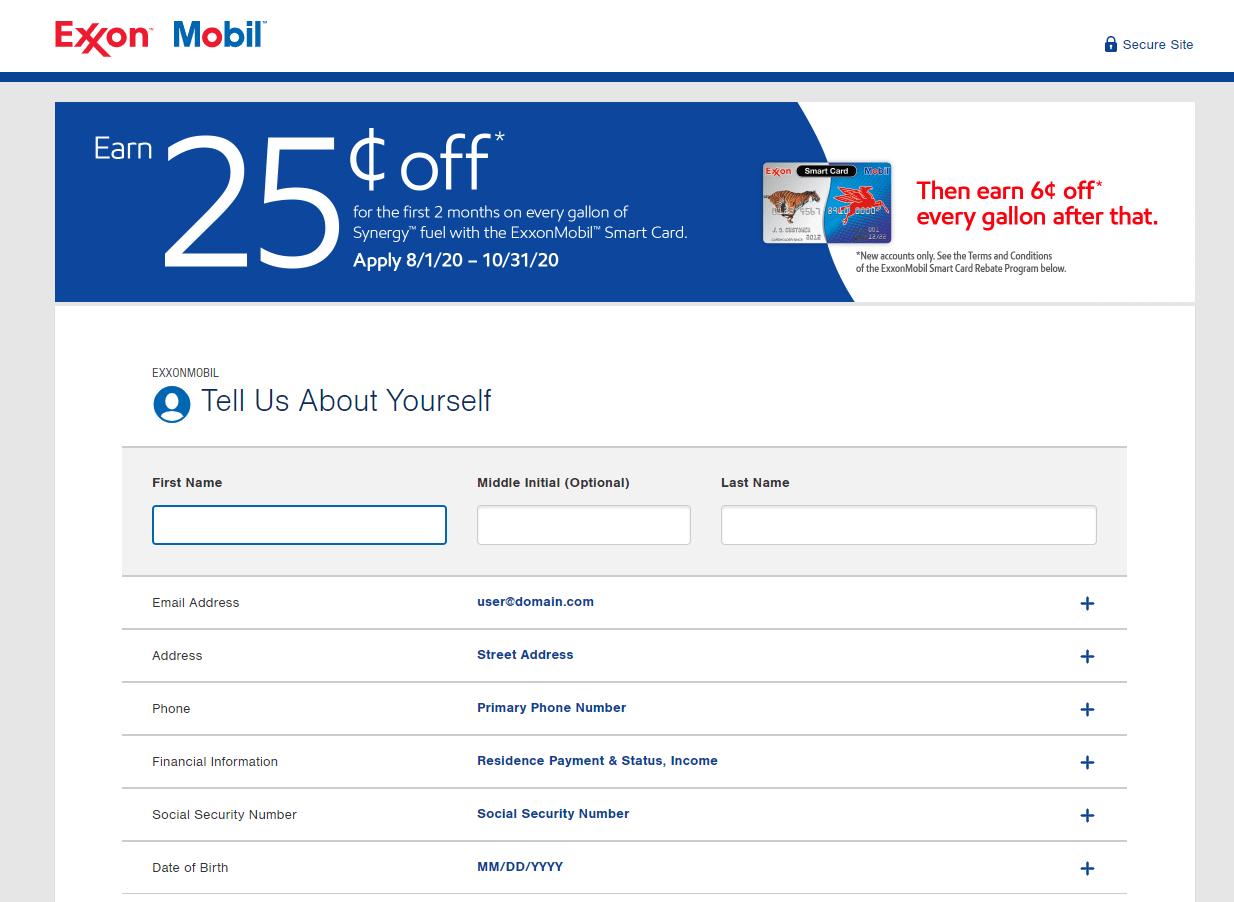 ExxonMobil credit card application
