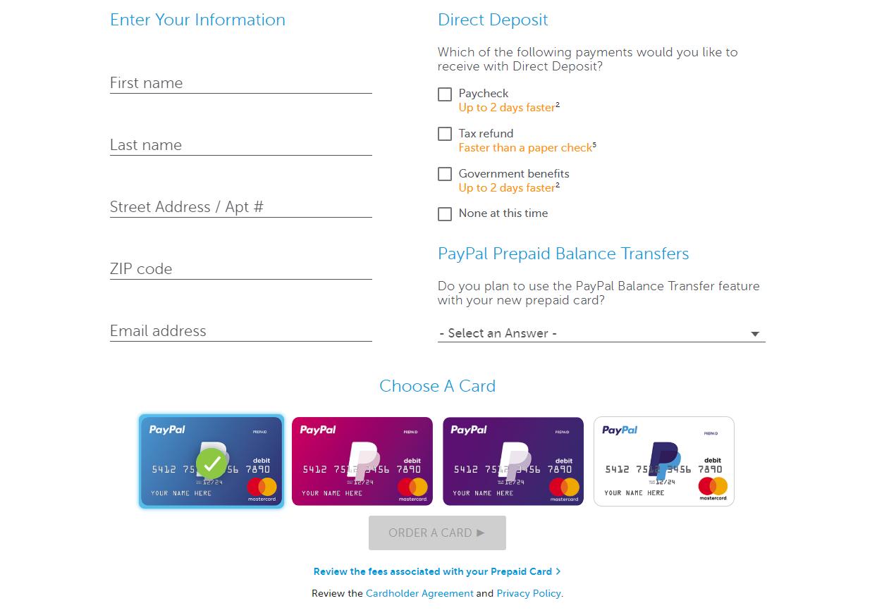 Order PayPal prepaid card