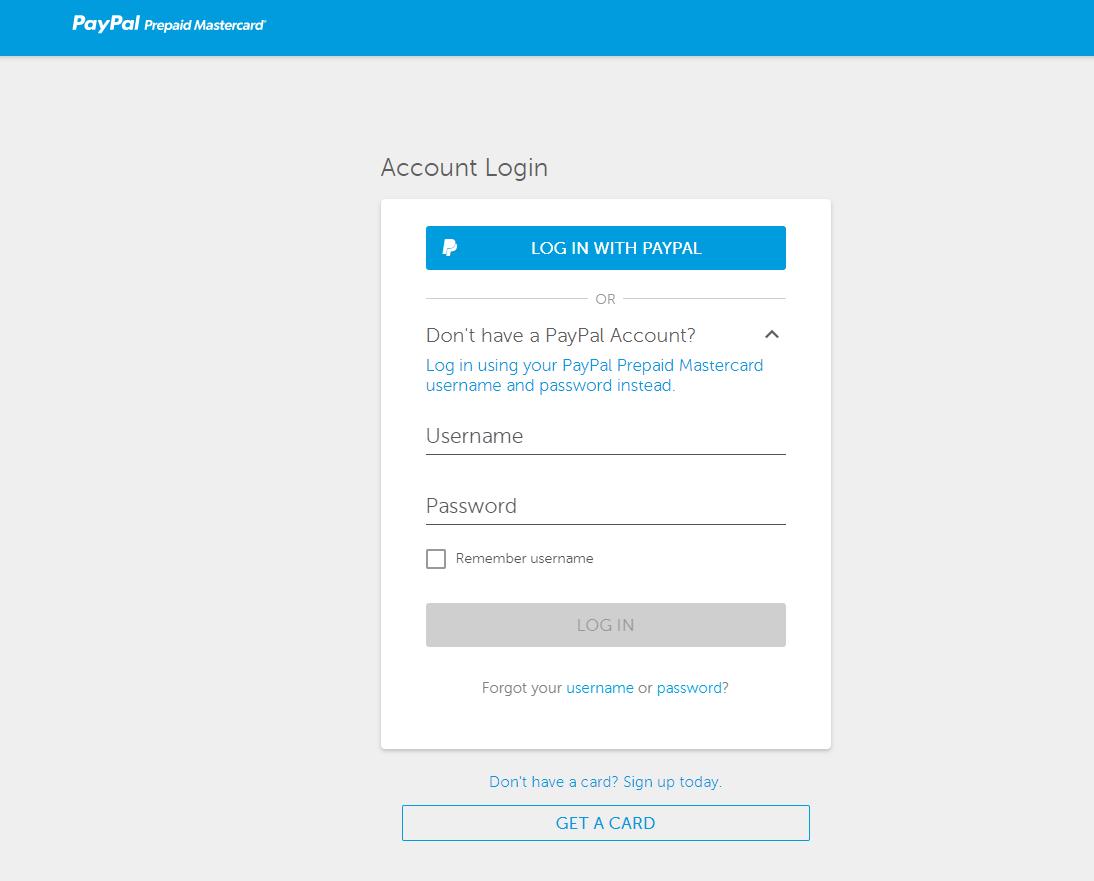 PayPal prepaid login