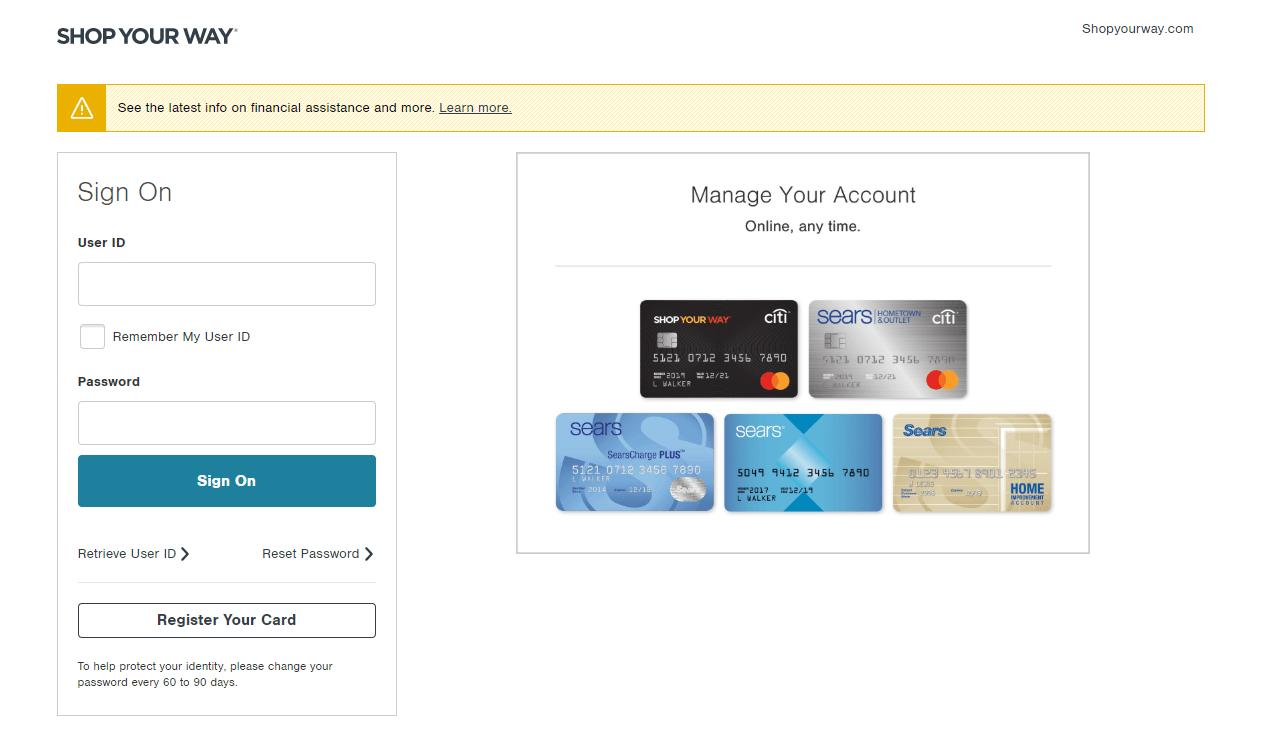 SYW credit card login