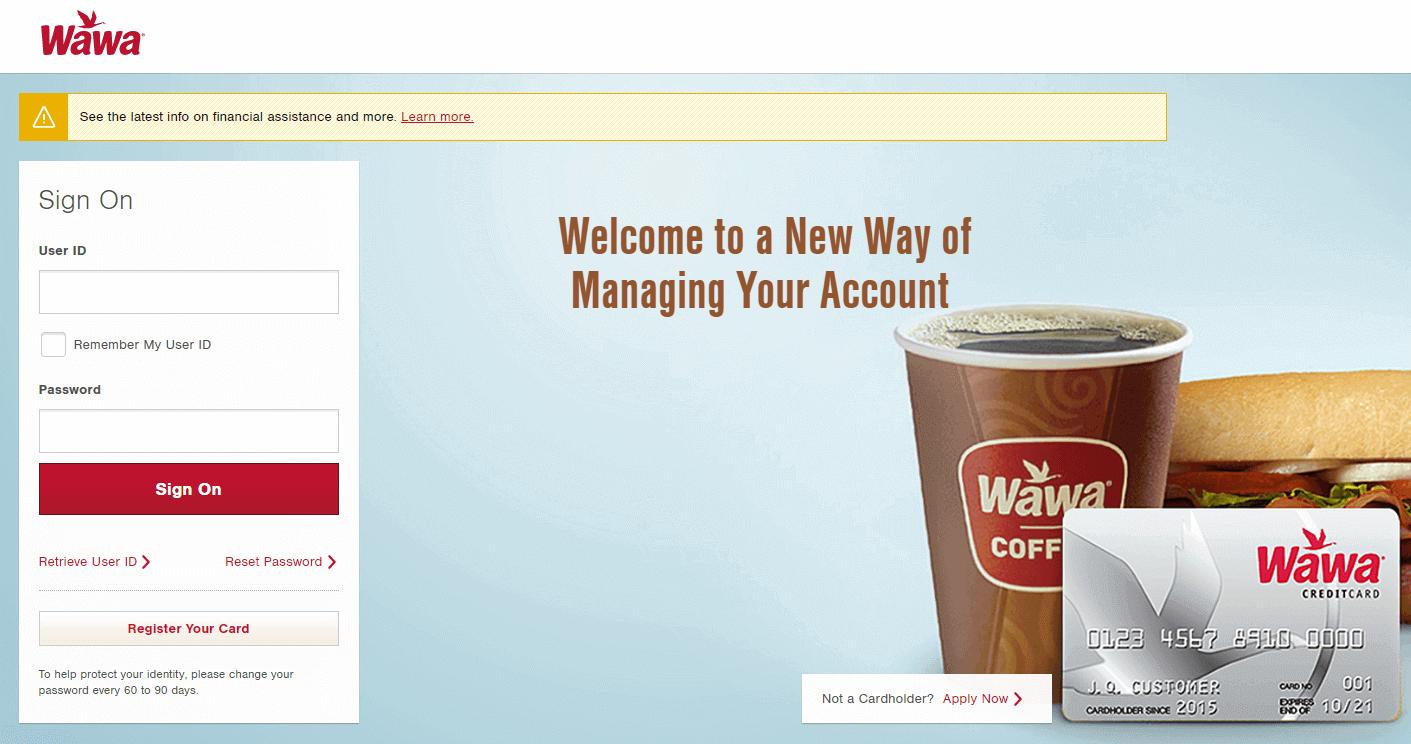 Wawa credit card login